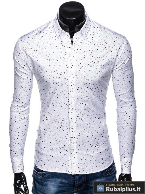 """K462B, Taškuoti Stilingi balti vyriški marškiniai ilgomis rankovėmis """"Slaim"""" vyrams internetu pigiau"""