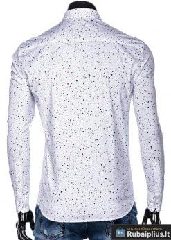 K462B, Taškuoti Stilingi balti vyriški marškiniai ilgomis rankovėmis