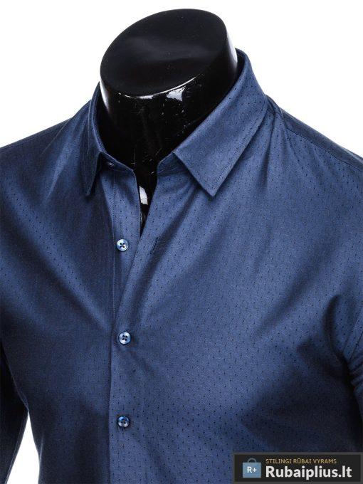 """K464TTM, Stilingi tamsiai mėlyni vyriški marškiniai ilgomis rankovėmis """"Velor"""" vyrams internetu pigiau"""