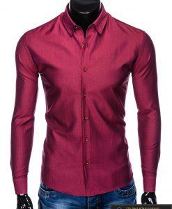 """K464TR, Stilingi tamsiai raudoni vyriški marškiniai ilgomis rankovėmis """"Velor"""" vyrams internetu pigiau"""