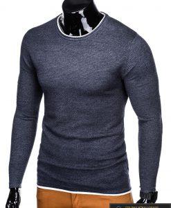 stilingas Tamsiai mėlynas-melanžinis vyriškas megztinis vyrams internetu pigiau E121TMM