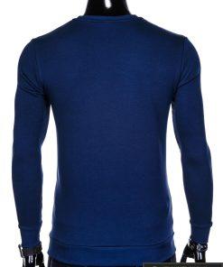 stilingas vienspalvis tamsiai mėlynas vyriškas džemperis vyrams be gobtivo