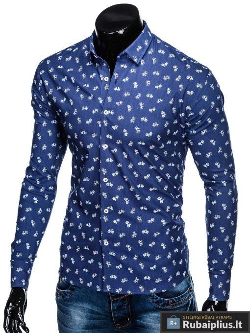 """K455TM, Stilingi Tamsiai mėlyni vyriški marškiniai ilgomis rankovėmis originalus dviračių raštas """"Bike"""" vyrams internetu pigiau"""