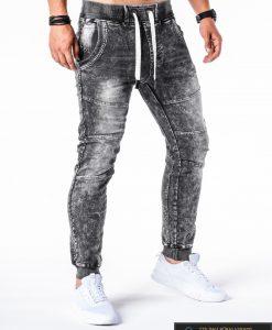 Jogger tipo tamsiai pilkos džinsinės laisvalaikiovyriškos kelnėsvyrams