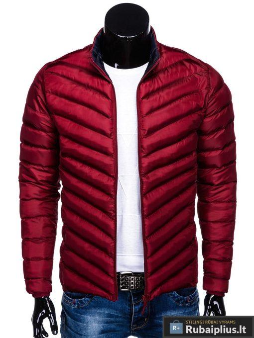 Stilinga Rudeninė-pavasarinė tamsiai raudona vyriška striukė vyrams internetu pigiau C344TR priekis prasegta