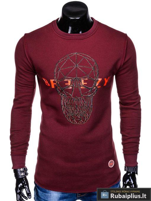 """stilingas ir madingas tamsiai raudonas vyriškas džemperis vyrams su kaukolės aplikacija ir užrašu """"Brez"""" internetu pigiau"""