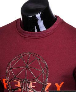 stilingas ir madingas tamsiai raudonas vyriškas džemperis vyrams su kaukolės aplikacija ir užrašu