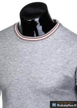 stilingas vienspalvis pilkas vyriškas džemperis vyrams be gobtivo
