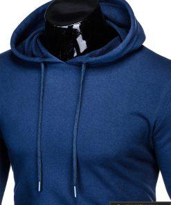 madingas tamsiai mėlynas vyriškas džemperis su gobtuvu vyrams