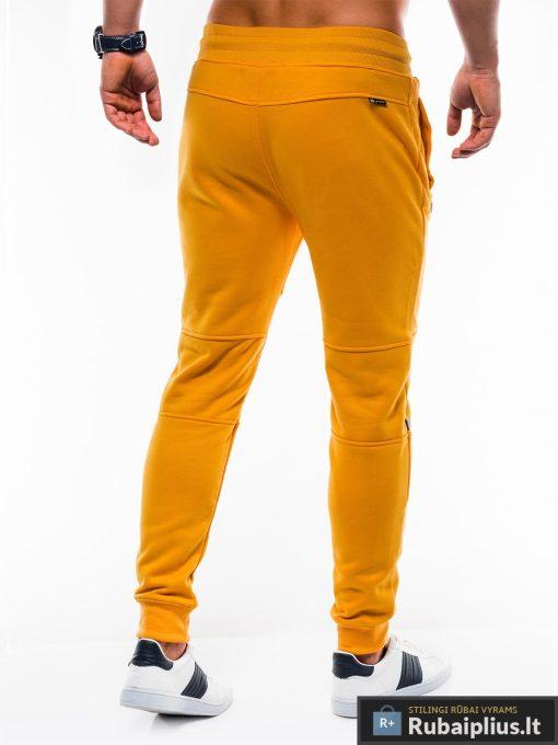 Stilingos vyriskos geltonos sportinės kelnės vyrams treningines internetu pigiau P743G nugara