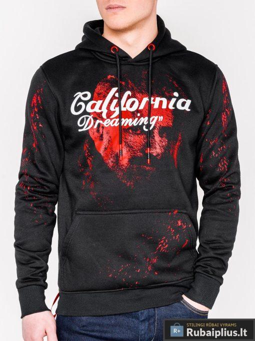 Madingas juodas vyriškas džemperis su užrašu ir paveiksliuku Dream vyrams internetu pigiau B948J priekis
