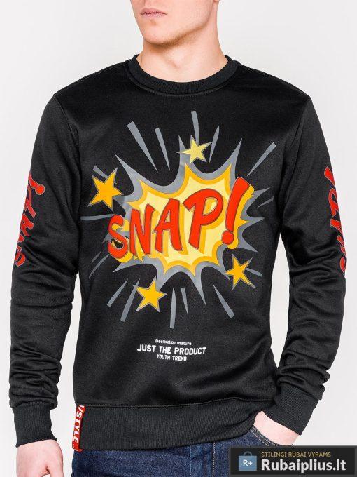 Juodas vyriškas džemperis su aplikacija vyrams Snap internetu pigiau B943J priekis
