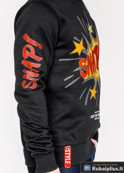 Juodas vyriškas džemperis su aplikacija vyrams Snap internetu pigiau B943J dešinė
