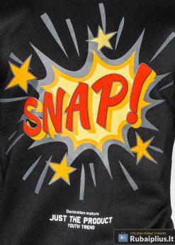 Juodas vyriškas džemperis su aplikacija vyrams Snap internetu pigiau B943J užrašas