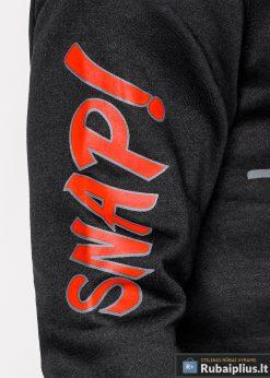 Juodas vyriškas džemperis su aplikacija vyrams Snap internetu pigiau B943J ranka