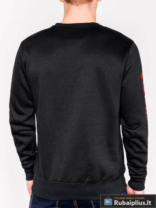 Juodas vyriškas džemperis su aplikacija vyrams Snap internetu pigiau B943J nugara