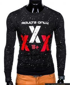 Madingas juodas vyriškas džemperis su užrašais vyrams internetu pigiau B951J priekis