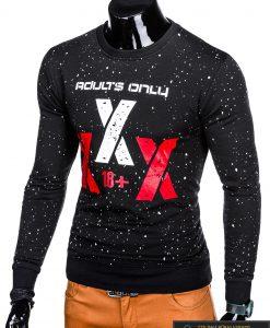 Madingas juodas vyriškas džemperis su užrašais vyrams internetu pigiau B951J kairė