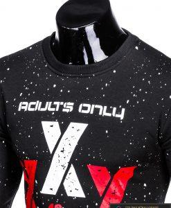 Madingas juodas vyriškas džemperis su užrašais vyrams internetu pigiau B951J apykaklė