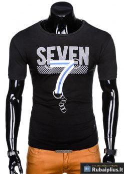 Juodi vyriški marškinėliai su aplikacija vyrams Seven internetu pigiau S1030J priekis