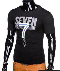 Juodi vyriški marškinėliai su aplikacija vyrams Seven internetu pigiau S1030J kairė