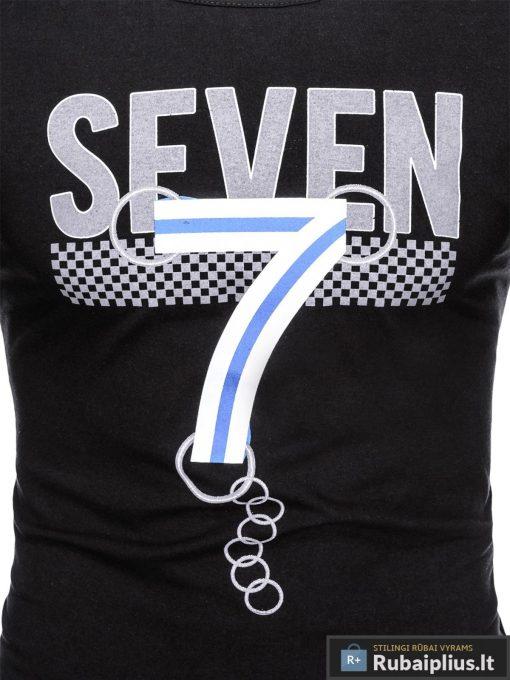 Juodi vyriški marškinėliai su aplikacija vyrams Seven internetu pigiau S1030J užrašas