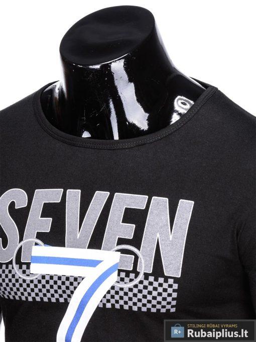Juodi vyriški marškinėliai su aplikacija vyrams Seven internetu pigiau S1030J apykaklė