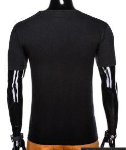 Juodi vyriški marškinėliai su aplikacija vyrams Seven internetu pigiau S1030J nugara