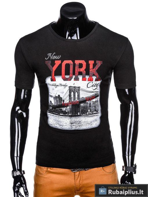 Stilingi juodi vyriškimarškinėliai suužrašais NewYork vyrams internetu pigiau S1028J priekis