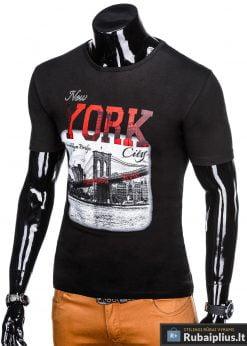 Stilingi juodi vyriškimarškinėliai suužrašais NewYork vyrams internetu pigiau S1028J kairė