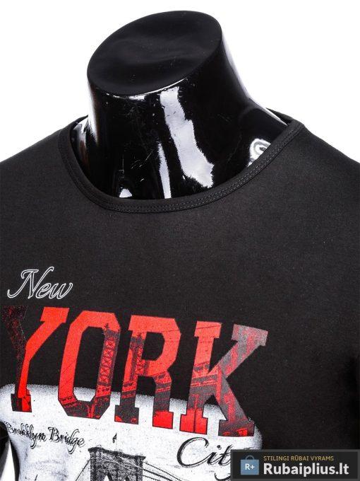 Stilingi juodi vyriškimarškinėliai suužrašais NewYork vyrams internetu pigiau S1028J apykaklė