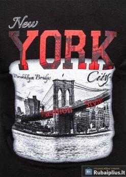 Stilingi juodi vyriškimarškinėliai suužrašais NewYork vyrams internetu pigiau S1028J priekis arčiau