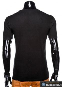 Stilingi juodi vyriškimarškinėliai suužrašais NewYork vyrams internetu pigiau S1028J nugara