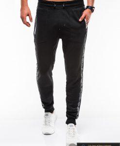 Stilingos vyriskos juodos sportinės kelnės vyrams Ostyle internetu pigiau P744J priekis