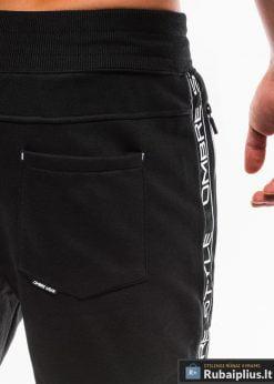 Stilingos vyriskos juodos sportinės kelnės vyrams Ostyle internetu pigiau P744J nugara arti