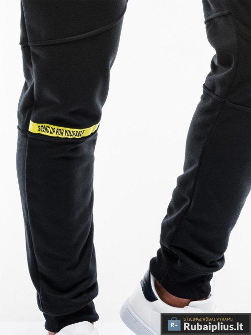 Vyriskos juodos sportinės kelnės vyrams internetu pigiau P743J koja