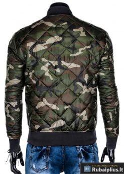 Stilinga žalia kamufliažinė rudeninė-pavasarinė vyriška striukė vyrams internetu pigiau C357ZCAM nugara