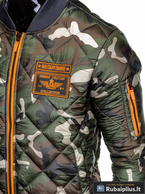 Stilinga žalia kamufliažinė rudeninė-pavasarinė vyriška striukė vyrams internetu pigiau C357ZCAM kišenė