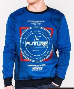 Mėlynas vyriškas džemperis su užrašais vyrams Future internetu pigiau B946M priekis