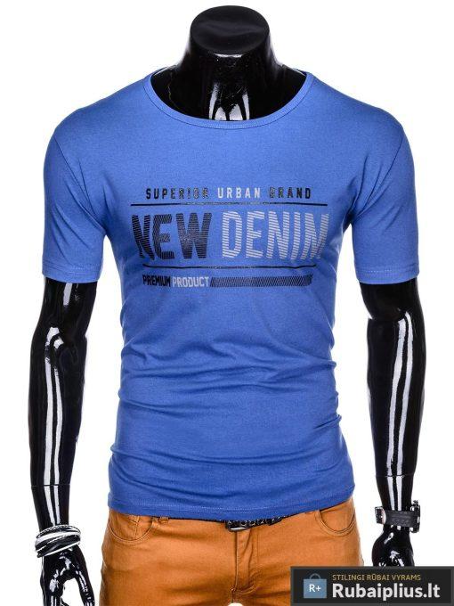 Stilingi mėlyni vyriškimarškinėliai suužrašais Denim vyrams internetu pigiau S1054M priekis