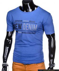 Stilingi mėlyni vyriškimarškinėliai suužrašais Denim vyrams internetu pigiau S1054M kairė