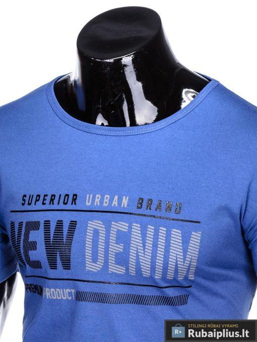 Stilingi mėlyni vyriškimarškinėliai suužrašais Denim vyrams internetu pigiau S1054M apykaklė