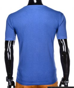 Stilingi mėlyni vyriškimarškinėliai suužrašais Denim vyrams internetu pigiau S1054M nugara