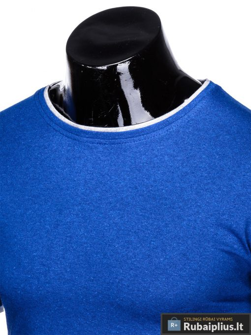Mėlyni vyriški marškinėliai vyrams Todo internetu pigiau S1033M apykaklė