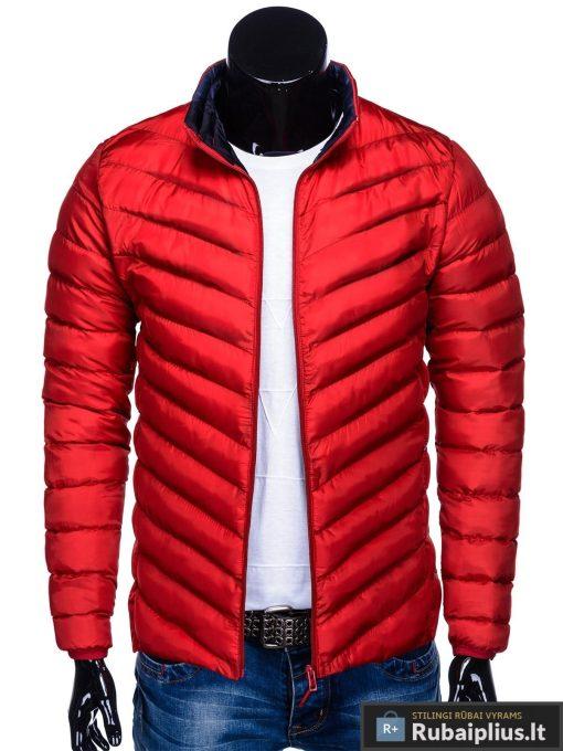 Moderni rudeninė pavasarinė raudona vyriška striukė vyrams Keison internetu pigiau C344R priekis prasegta