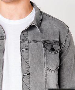 Pilka džinsinė vyriška striukė vyrams su aplikacija Choice internetu pigiau C345P apykaklė