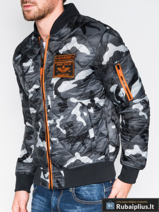 Stilinga pilka kamufliažinė pavasarinė vyriška striukė vyrams internetu pigiau C357PCAM šonas žmogus