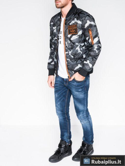 Stilinga pilka kamufliažinė pavasarinė vyriška striukė vyrams internetu pigiau C357PCAM žmogus