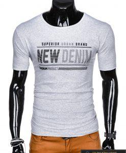 Stilingi pilki vyriškimarškinėliai suužrašais Denim vyrams internetu pigiau S1054P priekis