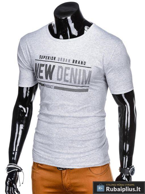Stilingi pilki vyriškimarškinėliai suužrašais Denim vyrams internetu pigiau S1054P kairė
